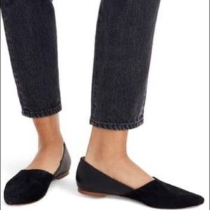 Madewell Lizbeth black suede leather point flats